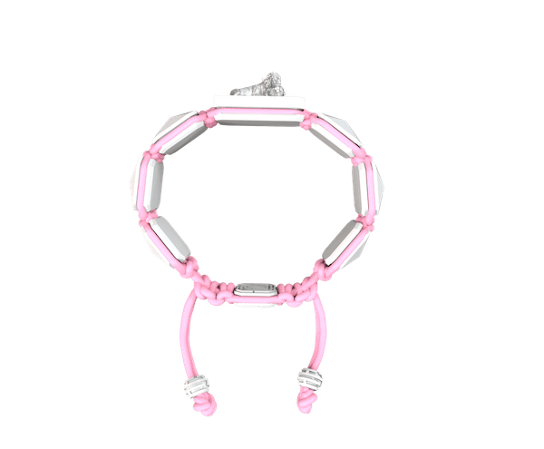 Comprar Pulsera My Family First con cerámica blanca y escultura acabada en efecto Platino. Hilo rosa.