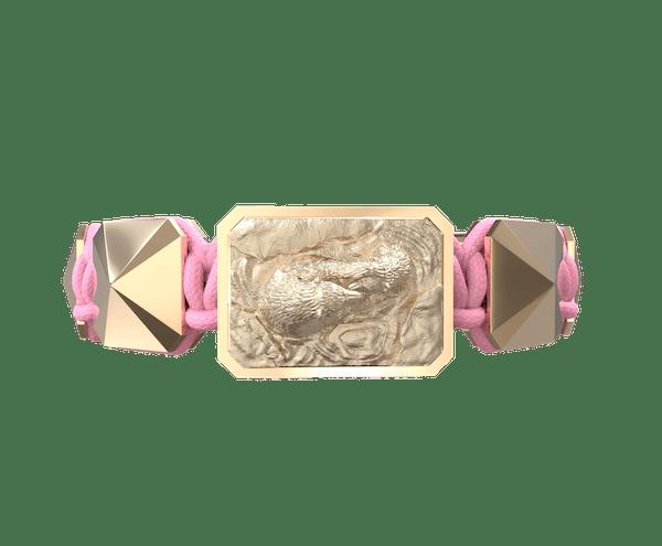Comprar Pulsera Proud Of You con cerámica y escultura acabadas en Oro Rosa de 18k. Hilo rosa.