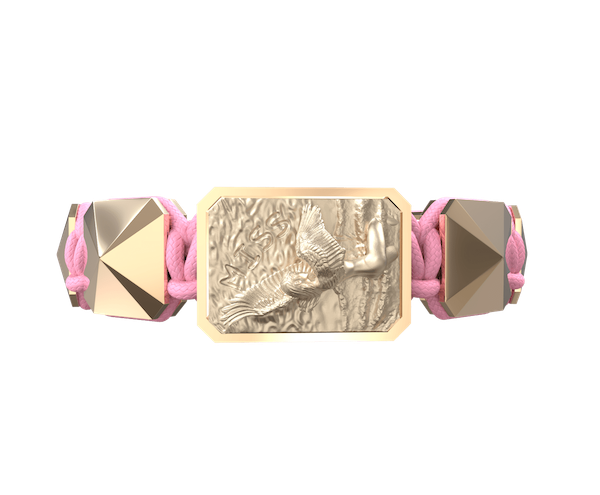 Shop Miss You bracelet with ceramic and sculpture finished in 18k Rose Gold complemented with a pink coloured cord.