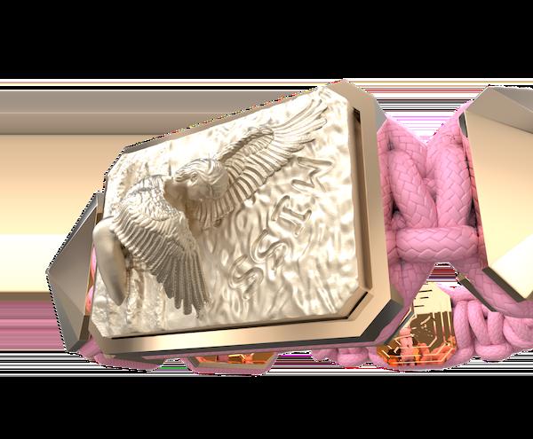 Comprar Pulsera Miss You con cerámica y escultura acabadas en Oro Rosa de 18k. Hilo rosa.