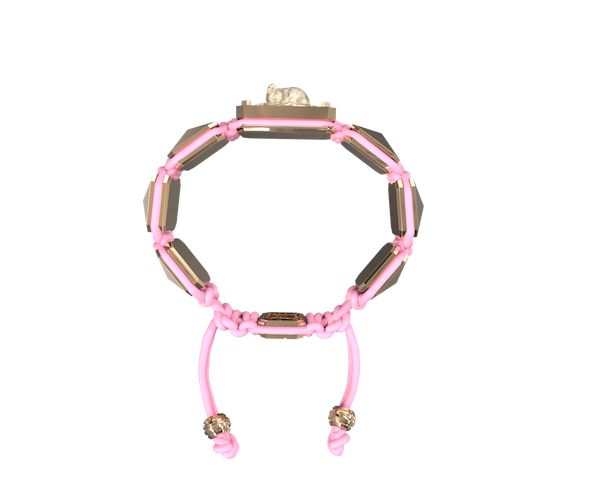 Comprar Pulsera I Love My Baby con cerámica y escultura acabadas en Oro Rosa de 18k. Hilo rosa.