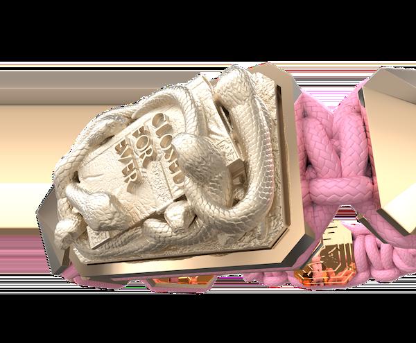 Comprar Pulsera I Quit con cerámica y escultura acabadas en Oro Rosa de 18k. Hilo rosa.