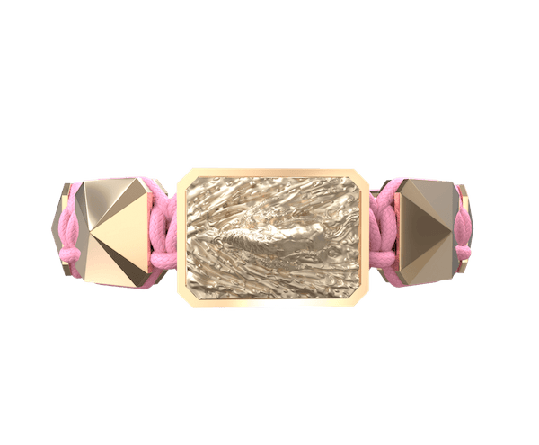 Comprar Pulsera I'm Different con cerámica y escultura acabadas en Oro Rosa de 18k. Hilo rosa.