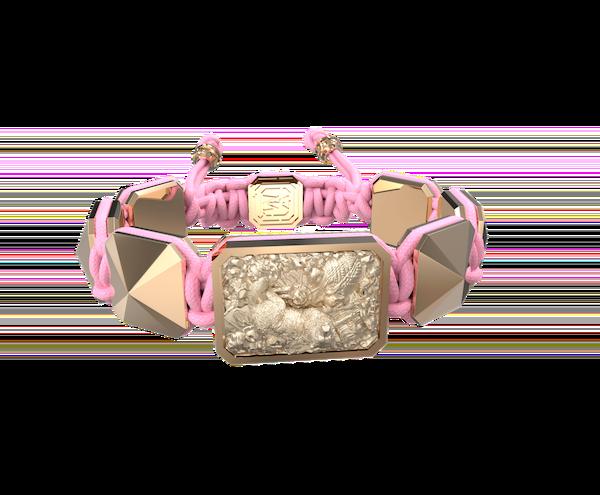 Comprar Pulsera Selfmade con cerámica y escultura acabadas en Oro Rosa de 18k. Hilo rosa.