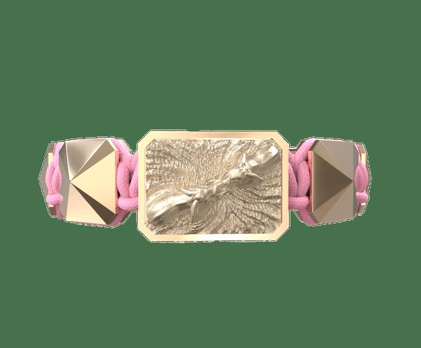Comprar Pulsera Forever In My Heart con cerámica y escultura acabadas en Oro Rosa de 18k. Hilo rosa.