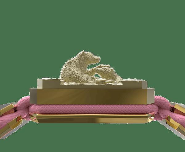 Comprar Pulsera Proud Of You con cerámica y escultura acabadas en Oro Amarillo de 18k. Hilo rosa.