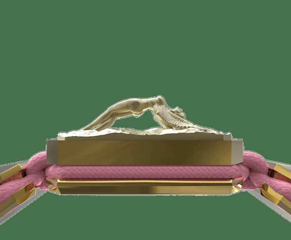 Comprar Pulsera I Love Me con cerámica y escultura acabadas en Oro Amarillo de 18k. Hilo rosa.