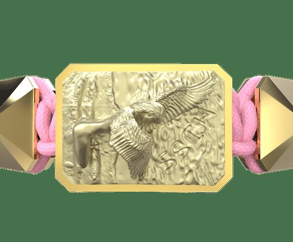 Comprar Pulsera Miss You con cerámica y escultura acabadas en Oro Amarillo de 18k. Hilo rosa.