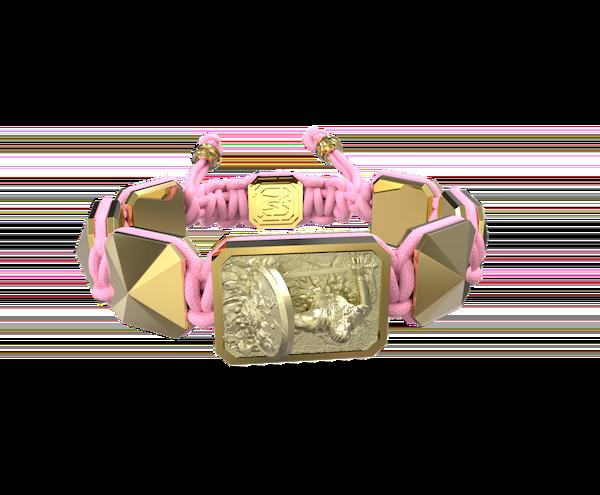 Comprar Pulsera I Will Fight till the End con cerámica y escultura acabadas en Oro Amarillo de 18k. Hilo rosa.