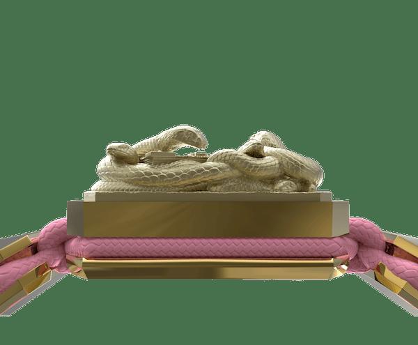 Comprar Pulsera I Quit con cerámica y escultura acabadas en Oro Amarillo de 18k. Hilo rosa.