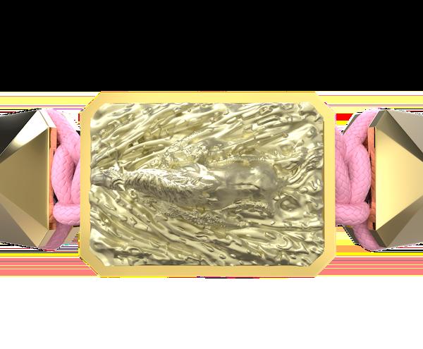 Comprar Pulsera I'm Different con cerámica y escultura acabadas en Oro Amarillo de 18k. Hilo rosa.