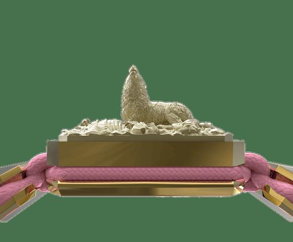Comprar Pulsera Selfmade con cerámica y escultura acabadas en Oro Amarillo de 18k. Hilo rosa.