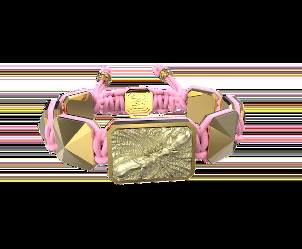 Comprar Pulsera Forever In My Heart con cerámica y escultura acabadas en Oro Amarillo de 18k. Hilo rosa.