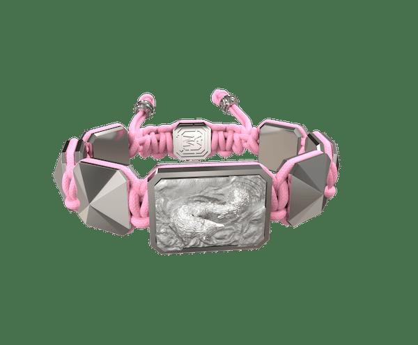 Comprar Pulsera Proud Of You con cerámica y escultura acabadas en efecto Platino. Hilo rosa.