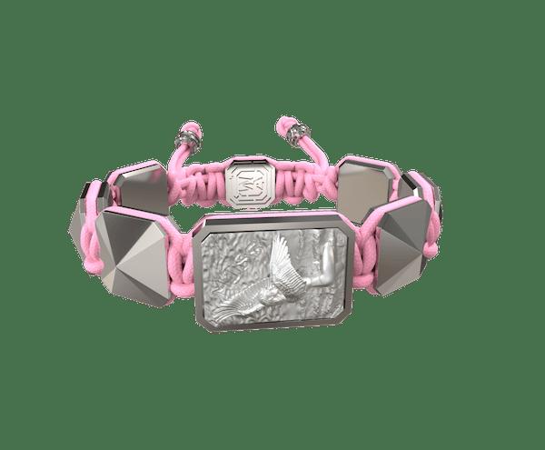 Comprar Pulsera Miss You con cerámica y escultura acabadas en efecto Platino. Hilo rosa.