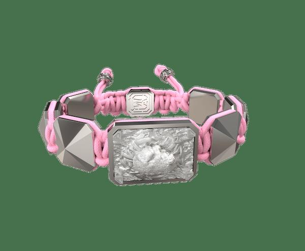 Comprar Pulsera I Love My Baby con cerámica y escultura acabadas en efecto Platino. Hilo rosa.