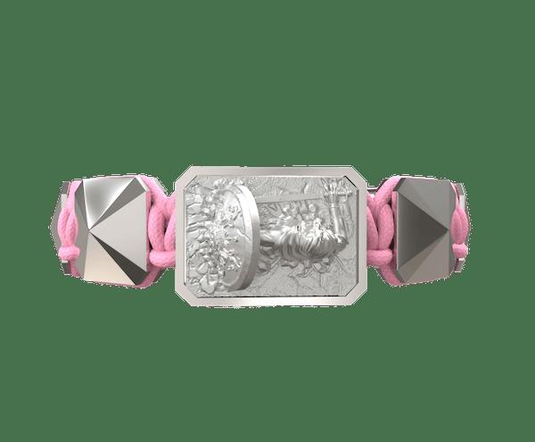 Comprar Pulsera I Will Fight till the End con cerámica y escultura acabadas en efecto Platino. Hilo rosa.