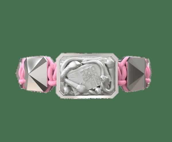 Comprar Pulsera I Quit con cerámica y escultura acabadas en efecto Platino. Hilo rosa.