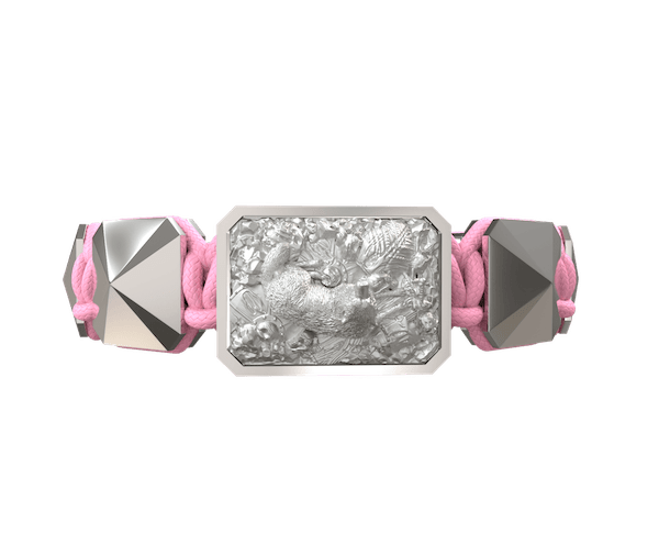 Comprar Pulsera Selfmade con cerámica y escultura acabadas en efecto Platino. Hilo rosa.