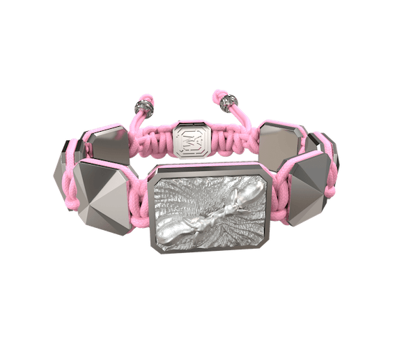 Shop Forever In My Heart bracelet with ceramic and sculpture finished in a Platinum effect complemented with a pink coloured cord.