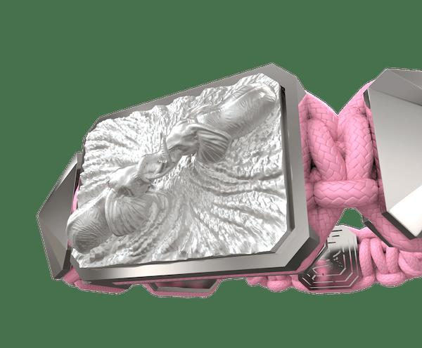 Comprar Pulsera Forever In My Heart con cerámica y escultura acabadas en efecto Platino. Hilo rosa.
