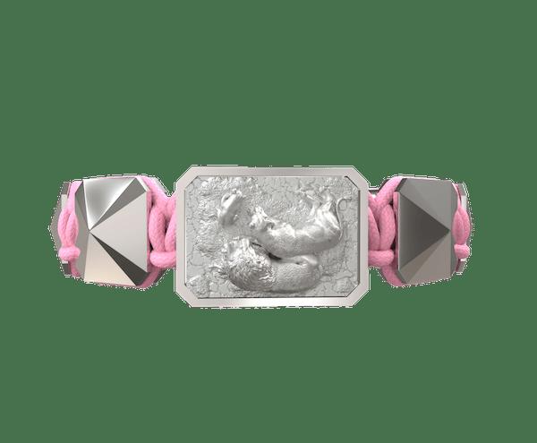 Comprar Pulsera My Family First con cerámica y escultura acabadas en efecto Platino. Hilo rosa.