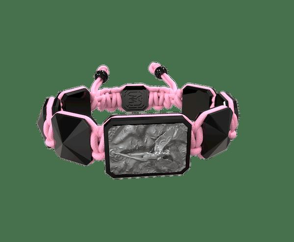 Comprar Pulsera I Love Me con cerámica negra y escultura acabada en color antracita. Hilo rosa.