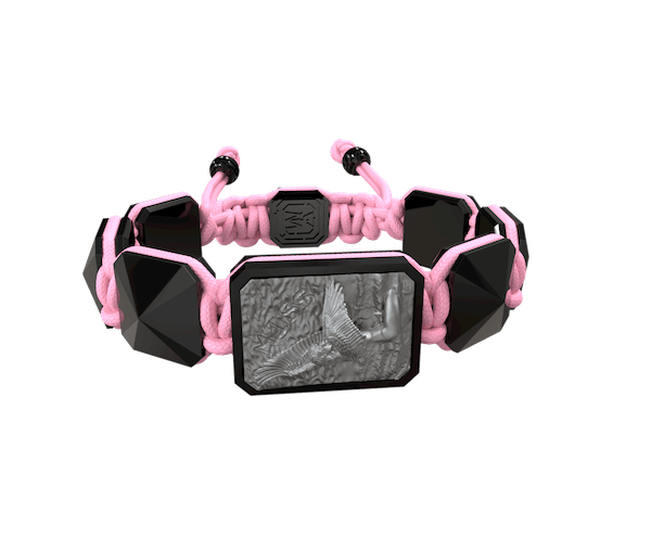 Comprar Pulsera Miss You con cerámica negra y escultura acabada en color antracita. Hilo rosa.