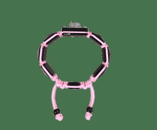Comprar Pulsera I Love My Baby con cerámica negra y escultura acabada en color antracita. Hilo rosa.