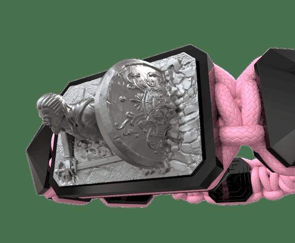 Comprar Pulsera I Will Fight till the End con cerámica negra y escultura acabada en color antracita. Hilo rosa.