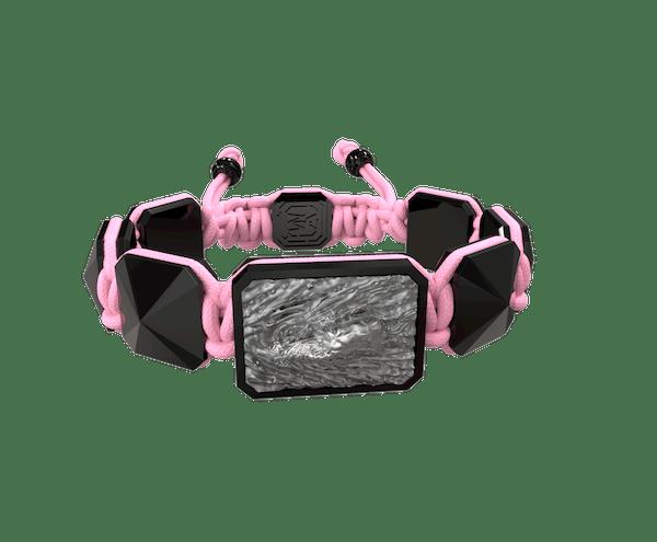 Comprar Pulsera I'm Different con cerámica negra y escultura acabada en color antracita. Hilo rosa.