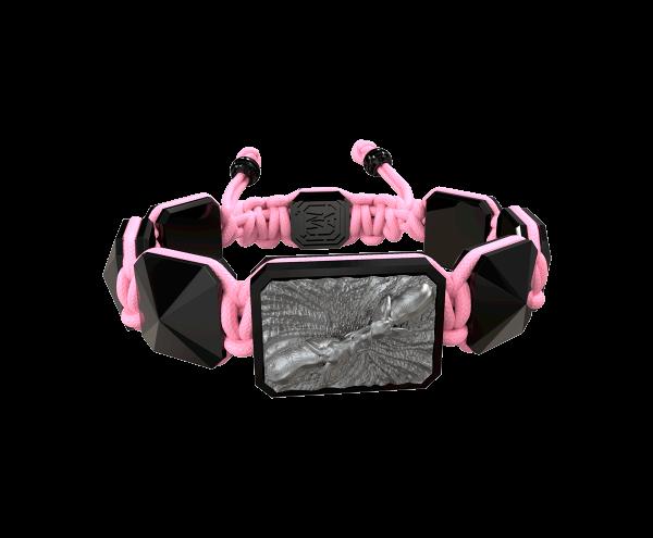 Comprar Pulsera Forever In My Heart con cerámica negra y escultura acabada en color antracita. Hilo rosa.