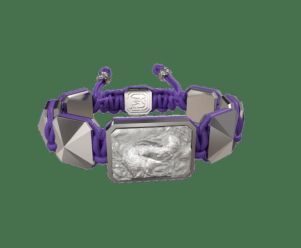 Comprar Pulsera Proud Of You con cerámica y escultura acabadas en efecto Platino. Hilo violeta.