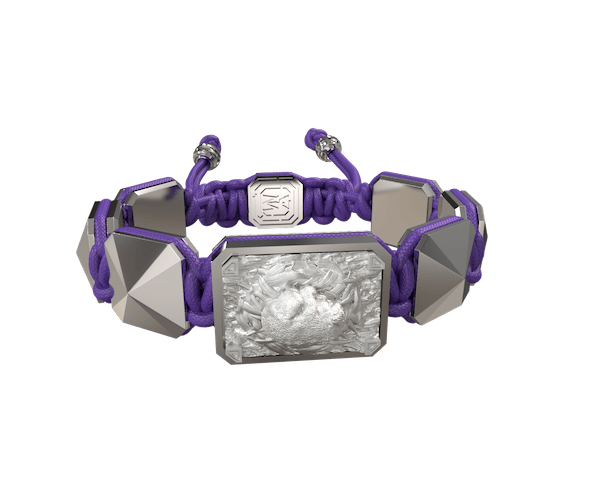 Shop I Love My Baby bracelet with ceramic and sculpture finished in a Platinum effect complemented with a violet coloured cord.