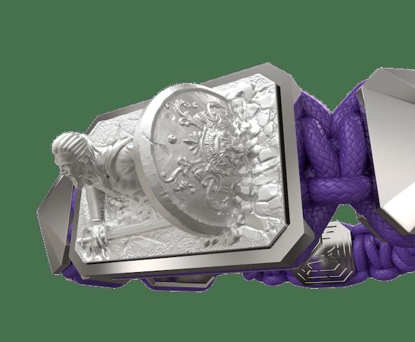 Comprar Pulsera I Will Fight till the End con cerámica y escultura acabadas en efecto Platino. Hilo violeta.