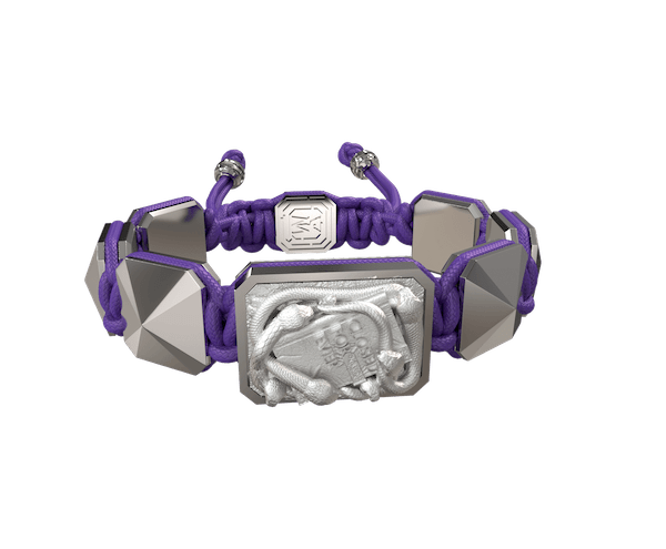 Shop I Quit bracelet with ceramic and sculpture finished in a Platinum effect complemented with a violet coloured cord.