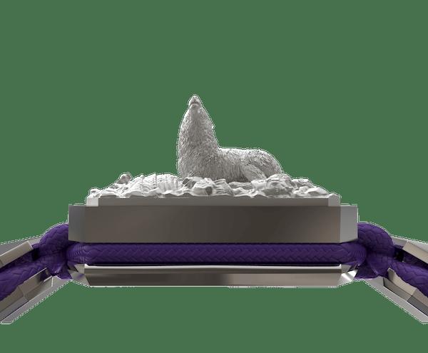 Comprar Pulsera Selfmade  con cerámica y escultura acabadas en efecto Platino. Hilo violeta.
