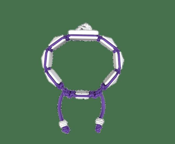 Comprar Pulsera Proud Of You con cerámica blanca y escultura acabada en efecto Platino. Hilo violeta.