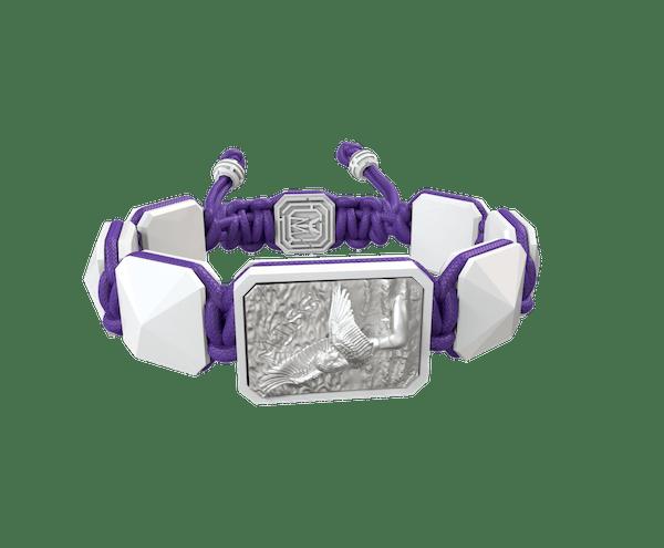 Comprar Pulsera Miss You con cerámica blanca y escultura acabada en efecto Platino. Hilo violeta.