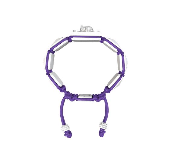 Shop I Love My Baby bracelet with white ceramic and sculpture finished in a Platinum effect complemented with a violet coloured cord.