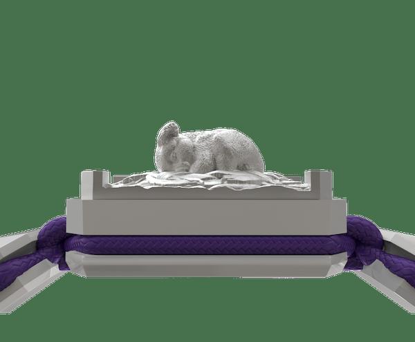 Comprar Pulsera I Love My Baby con cerámica blanca y escultura acabada en efecto Platino. Hilo violeta.