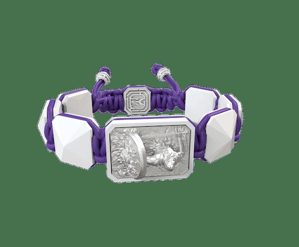 Comprar Pulsera I Will Fight till the End con cerámica blanca y escultura acabada en efecto Platino. Hilo violeta.
