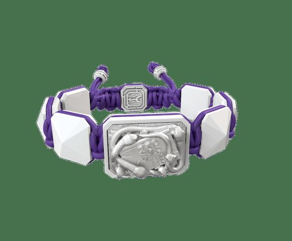 Comprar Pulsera I Quit con cerámica blanca y escultura acabada en efecto Platino. Hilo violeta.