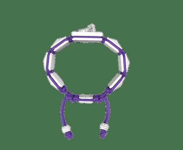 Comprar Pulsera My Family First con cerámica blanca y escultura acabada en efecto Platino. Hilo violeta.