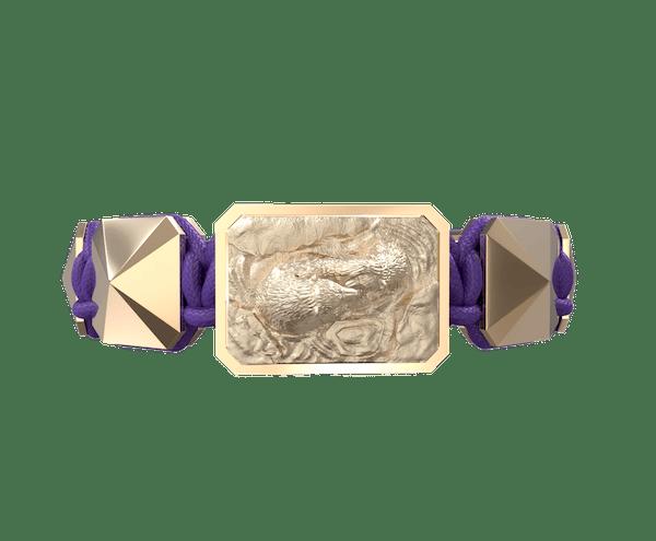 Comprar Pulsera Proud Of You con cerámica y escultura acabadas en Oro Rosa de 18k. Hilo violeta.