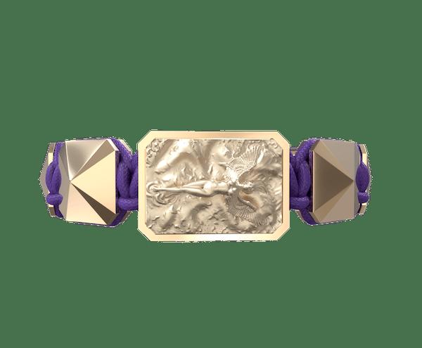 Comprar Pulsera I Love Me con cerámica y escultura acabadas en Oro Rosa de 18k. Hilo violeta.