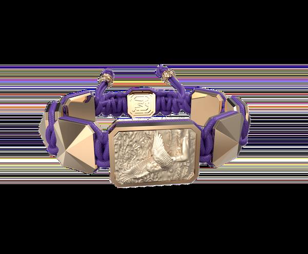Comprar Pulsera Miss You con cerámica y escultura acabadas en Oro Rosa de 18k. Hilo violeta.