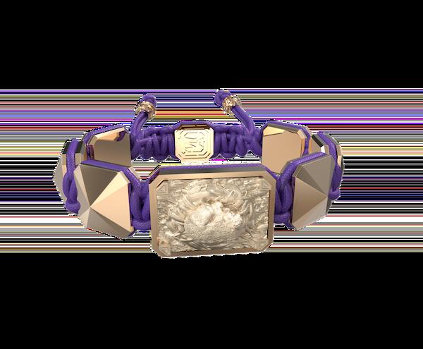 Comprar Pulsera I Love My Baby con cerámica y escultura acabadas en Oro Rosa de 18k. Hilo violeta.