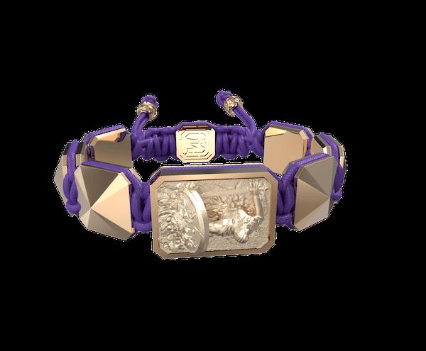 Comprar Pulsera I Will Fight till the End con cerámica y escultura acabadas en Oro Rosa de 18k. Hilo violeta.