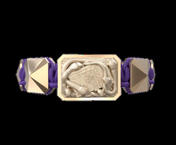 Comprar Pulsera I Quit con cerámica y escultura acabadas en Oro Rosa de 18k. Hilo violeta.
